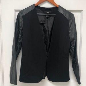 Blazer with Vegan Leather Sleeves